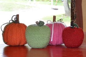 Locally made with love (and yarn) pink pumpkins only green apple only