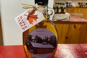 Local handcrafted maple syrup decorative glass bottle